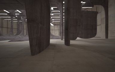 Empty dark abstract brown concrete room smooth interior. Architectural background. Night view of the illuminated. 3D illustration and rendering
