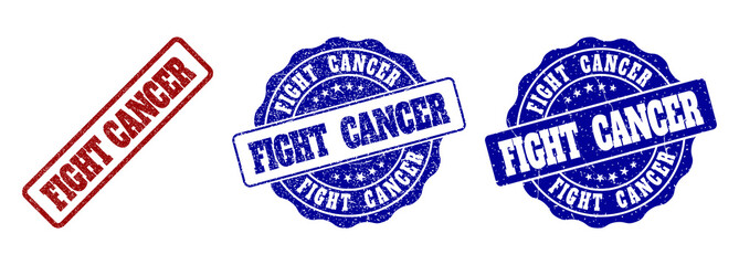 FIGHT CANCER grunge stamp seals in red and blue colors. Vector FIGHT CANCER labels with grunge effect. Graphic elements are rounded rectangles, rosettes, circles and text tags.