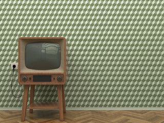 Old retro TV in the interior of the living room stands on the parquet floor on a background of a wall with green abstract wallpaper. Copy space. 3D illustration.