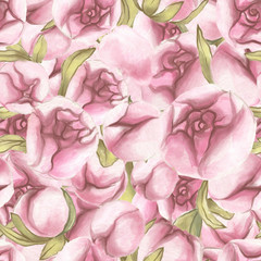 Seamless pattern. Valentines Day. Delicate Love. Hand drawn water color Peony Flowers with leaves.