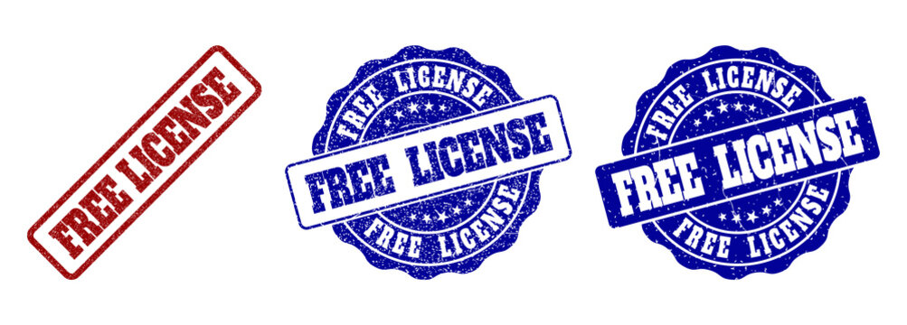 FREE LICENSE grunge stamp seals in red and blue colors. Vector FREE LICENSE imprints with grunge texture. Graphic elements are rounded rectangles, rosettes, circles and text tags.
