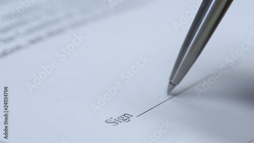 Pen Ready To Sign Documents Macro View Business Contract