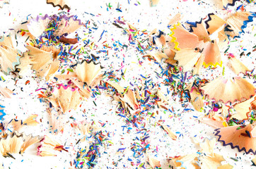 Pile of colored pencil shavings.