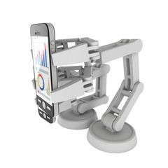 Robotic arm hold smartphone with big data. Manufacture technology industry assembly mechanic hand 3d render illustration isolated on white