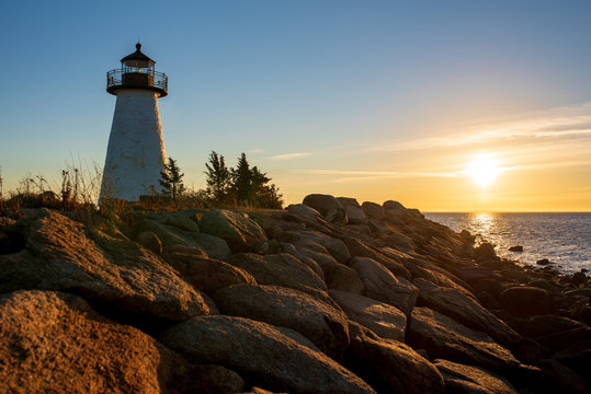 Ned Point Light in Mattapoisett, Mass. at sunrise