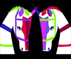 Dwa kolorowe konie