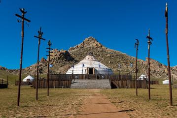 Eine Nachbildung des historischen Feldlagers von Dschingis Khan (geboren etwa 1155-1162, gestorben um 1227)