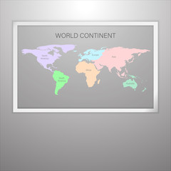 Continent world map in frame on gradient gray wall, picture frame for interior decorate