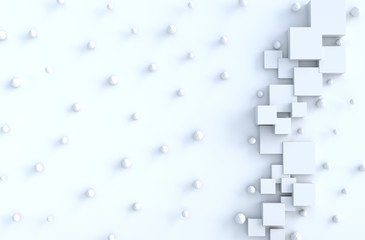 White geometric cube and polygon shapes  and copy space background. for design decorate. Realistic 3D render.