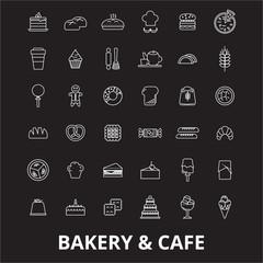 Bakery editable line icons vector set on black background. Bakery white outline illustrations, signs,symbols