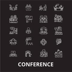 Conference editable line icons vector set on black background. Conference white outline illustrations, signs,symbols