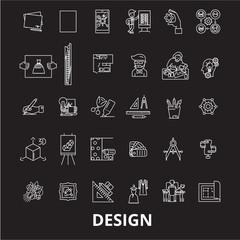Design editable line icons vector set on black background. Design white outline illustrations, signs,symbols