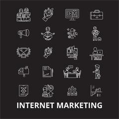 Internet marketing editable line icons vector set on black background. Internet marketing white outline illustrations, signs,symbols