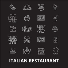 Italian restaurant editable line icons vector set on black background. Italian restaurant white outline illustrations, signs,symbols