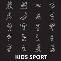 Kids sport editable line icons vector set on black background. Kids sport white outline illustrations, signs,symbols