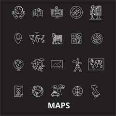 Maps editable line icons vector set on black background. Maps white outline illustrations, signs,symbols