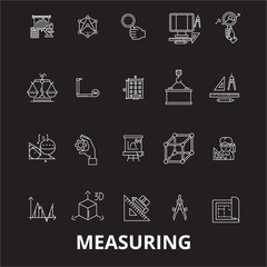 Measuring editable line icons vector set on black background. Measuring white outline illustrations, signs,symbols