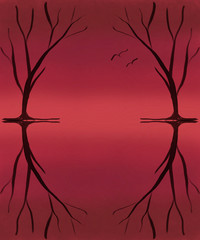 Dark Trees with Birds on Red Coral Background