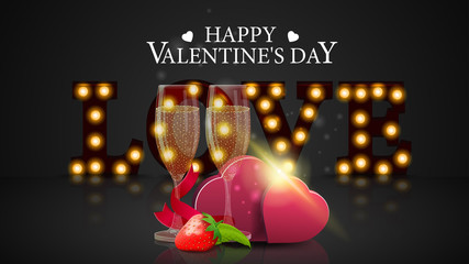 Grey Valentine's Day greeting banner with glowing letters, glasses of champagne and two hearts
