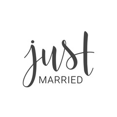 Handwritten lettering of Just Married on white background