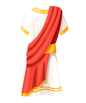 Ancient Roman senator tunic. Classic B.C. clothes. Flat vector illustration isolated on white background