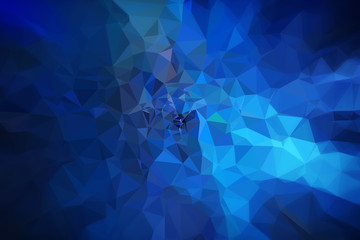 High resolution futuristic dark blue and turquoise polygon mosaic vector background. Abstract 3D triangular low poly style gradient background. Darker edges.