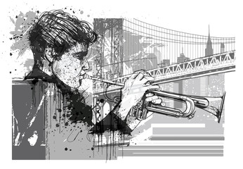 Fotobehang Art Studio Trumpet player in New York (Brooklyn)