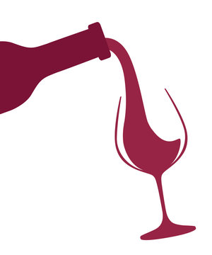Abstract logo or illustration. Red wine pouring from bottle to glass. Flat vector illustration isolated on white background