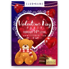 Poster of Valentine's Day party with Teddy bear