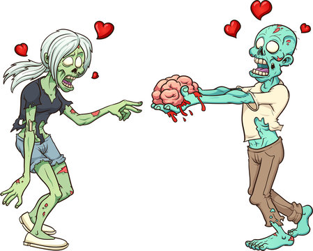 Male zombie in love giving female zombie a brain as a Valentine's gift. Vector clip art illustration with simple gradients. Some elements on separate layers.