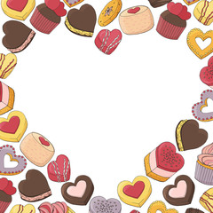 heart made from a variety of desserts, cakes, sweets and food for Valentines day. Hand drawn. Template for the menu of cafes and restaurants. Vector illustration.