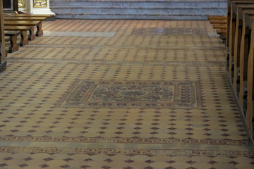 Ancient stone floor in an ancient church