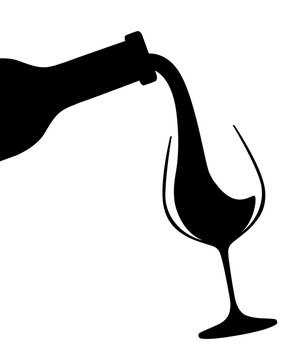 Black silhouette. Abstract logo or illustration. Red wine pouring from bottle to glass. Flat vector illustration isolated on white background