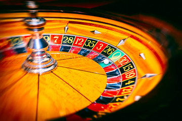 Roulette wheel in casino.