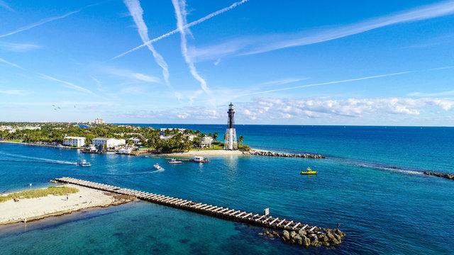 Lighthouse Point Aerial in Pompano Beach, Florida, USA