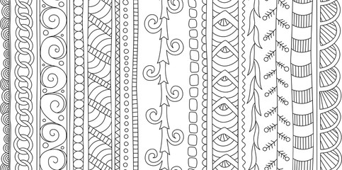 Beautiful seamless brushes for coloring book arts