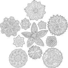 Floral abstract patterns for coloring book pages