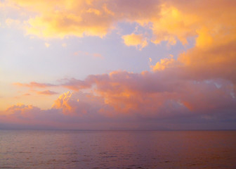 Beautiful red and yellow sunset on the sea