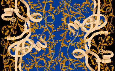Baroque patch with chains and belts. Vector seamless pattern for scarf