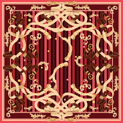 Baroque patch with golden chains and belts. Vector red scarf