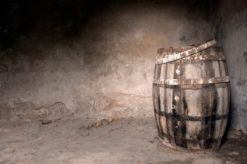 Old wine cellar to store wine in a dim room