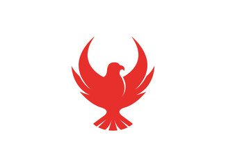 Bird red eagle open wings flying logo design