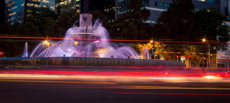 Fountain at night Mexico City
