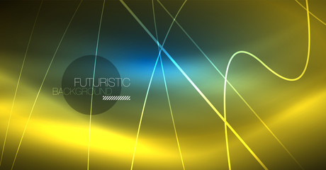 Neon glowing magic background, neon banner, night sky wallpaper. Magic light effect. Christmas abstract pattern.
