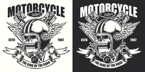 Original vector illustration. Skull in motorcycle helmet with wings, and with ribbon. Emblem on a dark and white background.