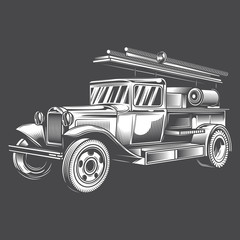 Black and white fire truck on dark background. Vector illustration.