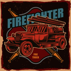 Vector logo of a fire truck on a dark background. Illustration for print, logo or t-shirt.