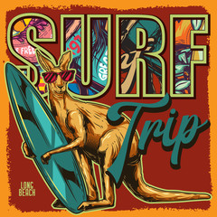Original vector illustration on red background. Kangaroo surfing in paws on the beach.