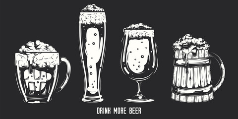 Vector set of beer glasses and mugs on dark background.