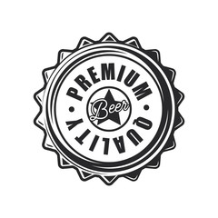 Beer lid in vintage style on white background. Vector illustration.